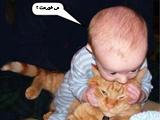 عکس  بامزه گربه و بچه