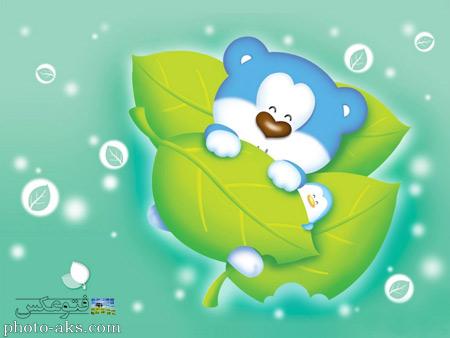 عکس کارتونی خرس آبی aks kartoni dokhtarane