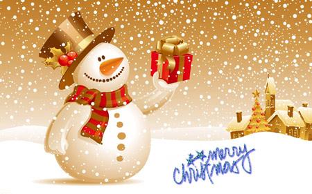 عکس کارتونی آدم برفی در کریسمس happy merry christas snow man