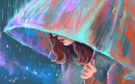 دختر غمگین با چتر زیر باران sad girl in rain