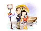 دختر و پسر زیر باران کارتونی
