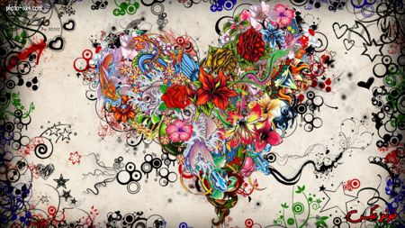 والپیپر شاد و رنگارنگ قلب با گل ها heart flowers