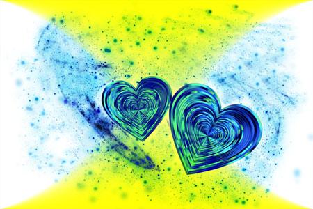 عکس انتزاعی دو قلب آبی در کنار هم hearts abstract love