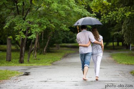 عکس عاشقانه زیر باران love in rain