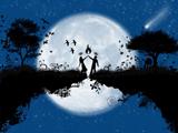پوستر عاشقانه فانتزی آبی