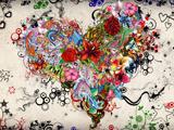 والپیپر شاد و رنگارنگ قلب با گل ها