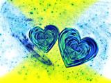 عکس انتزاعی دو قلب آبی در کنار هم
