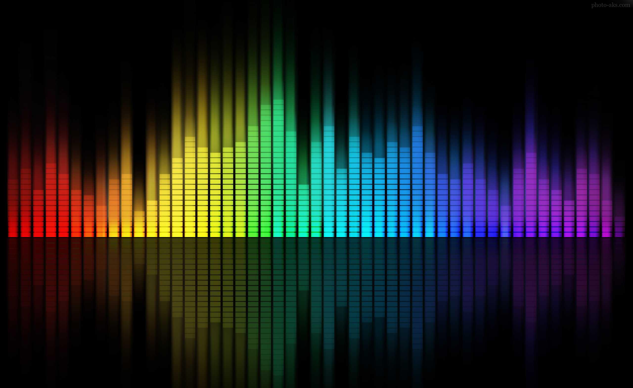 اکولایزر کامپیوتری موسیقی رنگارنگ مخصوص پس زمینه