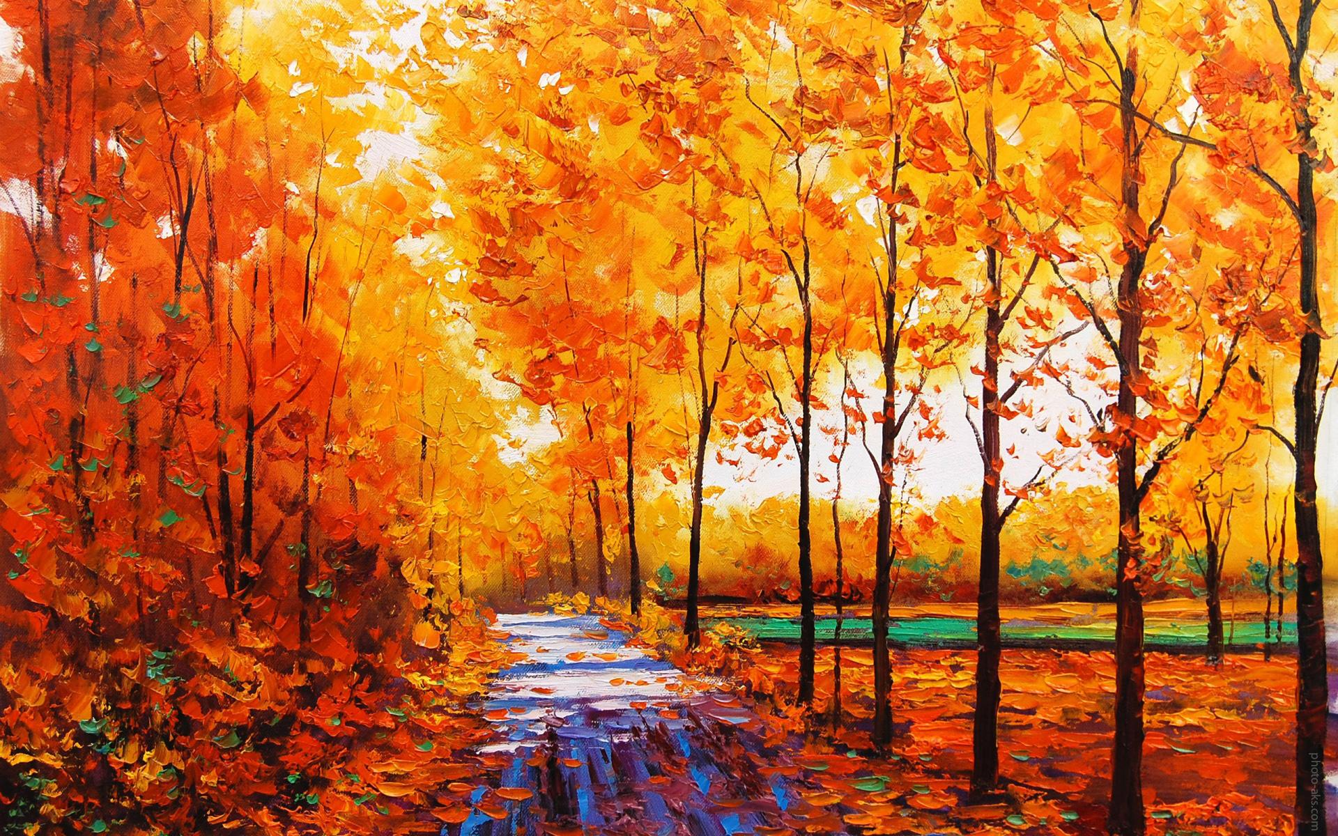 نقاشی رنگ روغن طبیعت پاییز