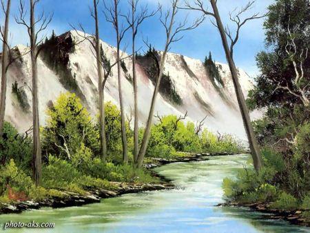 نقاشی رودخانه و طبیعت nature painting bob ross