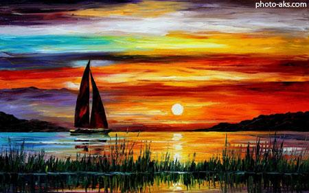 تابلو نقاشی رنگ روغن منظره painting sunset sea boat