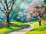 نقاشی زیبا از طبیعت بهاری درختان