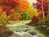 نقاشی رود و درختان پاییزی زیبا