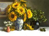 نقاشی گلدان گل افتابگردان