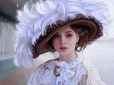 نقاشی زیبای زن با کلاه پر سفید