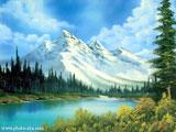 نقاشی طبیعت زیبای رودخانه و کوه