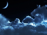 عکس آسمان ابری در شب