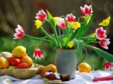 دسته گل بهاری در گلدان