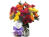 دسته گل رز های رنگی