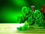 عکس دسته گل رز سبز