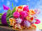 دسته گل لاله رنگی