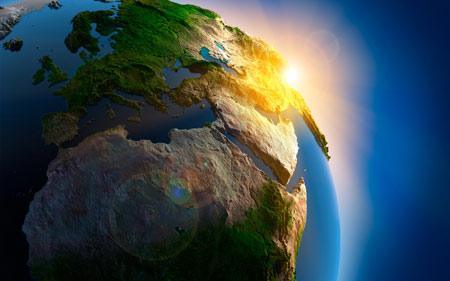 طولع خورشید در کره زمین earth sunrise wallpaper