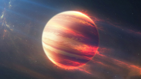 سیاره آتشین در فضا space fire planet