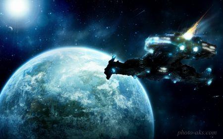 حمله سفینه فضایی به زمین space ship in space