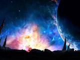 منظره تخیلی فضا و کهکشان