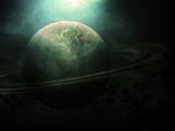 سیاره زحل در فضای تاریک