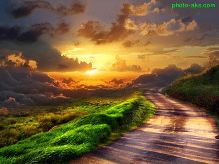 طبیعت جاده و غروب خورشید sunset road