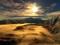 منظره تابش آفتاب در کوهستان