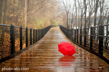 عکس پل خیس بارانی شاعرانه bridge red umbrella rain