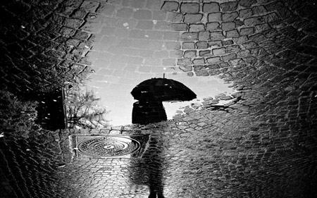 سنگ فرش بارانی خیس آب rain night dark