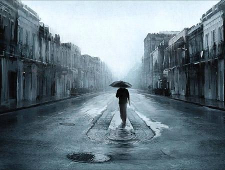 عکس+بارانی+غمگین