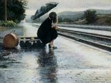 عکس غم انگیز دختر زیر باران