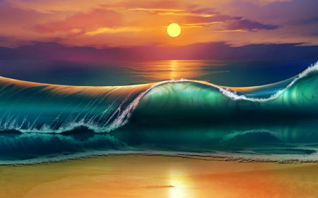 عکس امواج دریا در غروب sunset sea beach waves
