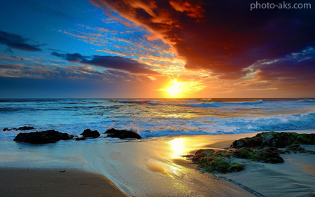 غروب رومانتیک در کنار ساحل beach sea sunset