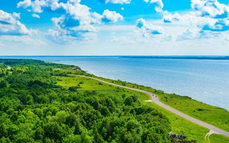 منظره زیبا ساحل دریای سرسبز beautiful sea green nature