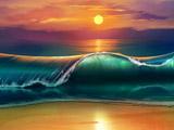 عکس امواج دریا در غروب