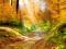 جاده خاکی جنگلی در پاییز