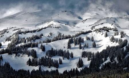 منظره زمستانی کوه های امریکا oregon mountains snow