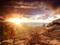 منظره طلوع خورشید در بیابان