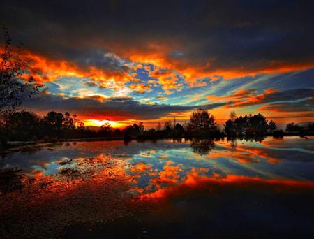 منظره غروب زیبای آفتاب orange sunset landscape