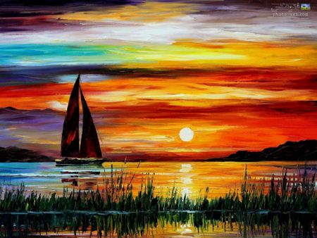 نقاشی غروب خورشید sunset painting