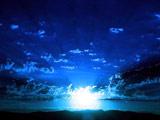 عکس طلوع خورشید آسمان آبی