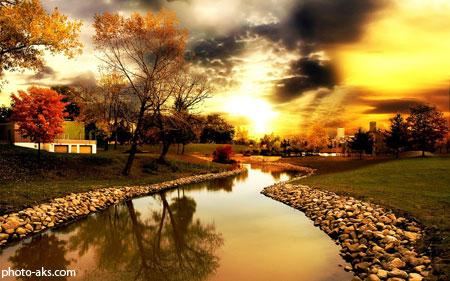 عکس رودخانه و غروب پاییزی river on autumn sunset