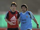 لیونل مسی و مارادونا