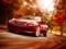 منظره زیبا پائیز و ماشین قرمز