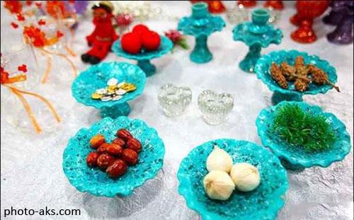 تصاویر مدل هفت سین با ظروف سنتی فیروزه ای رنگ